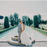 Bride and Groom at fountain for wedding photos at Parkwood Estates